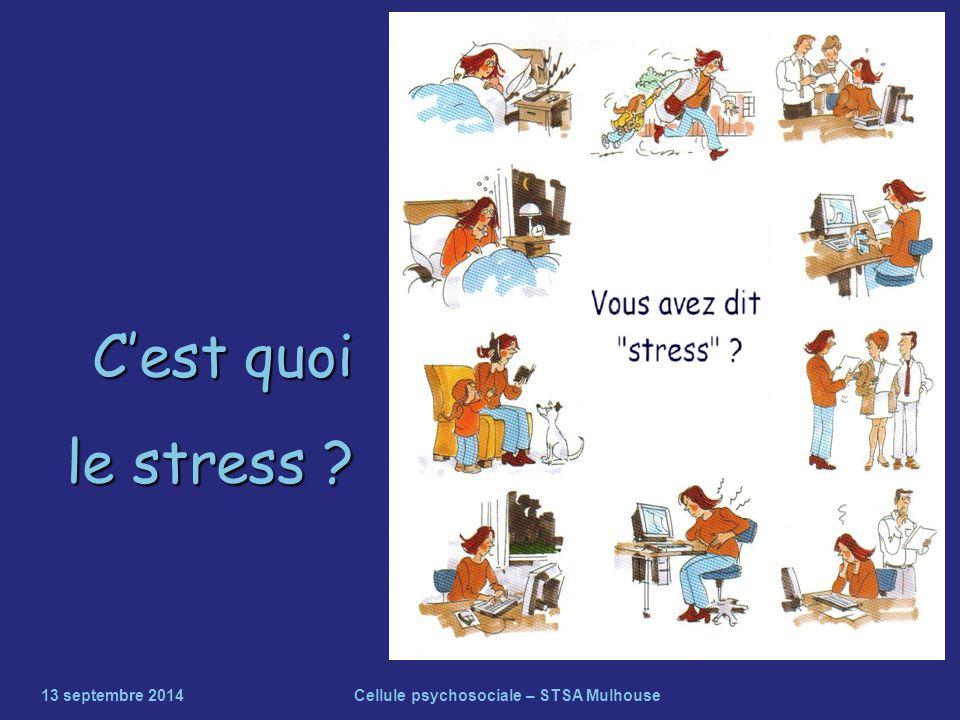 C'est quoi le stress ? 13 septembre 2014Cellule psychosociale – STSA Mulhouse