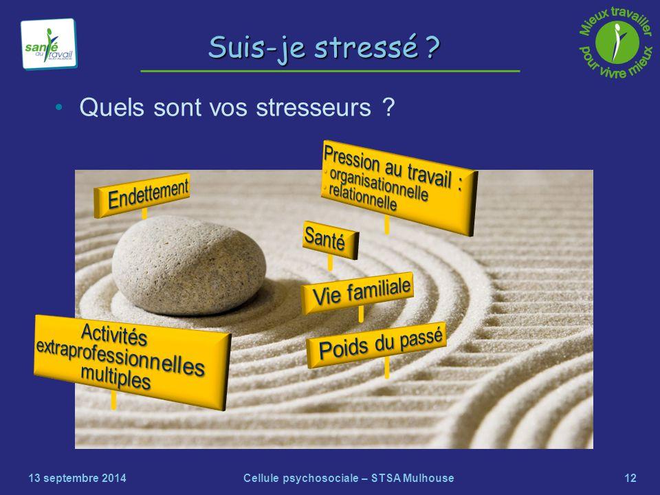 12 Suis-je stressé ? Quels sont vos stresseurs ? 13 septembre 2014Cellule psychosociale – STSA Mulhouse