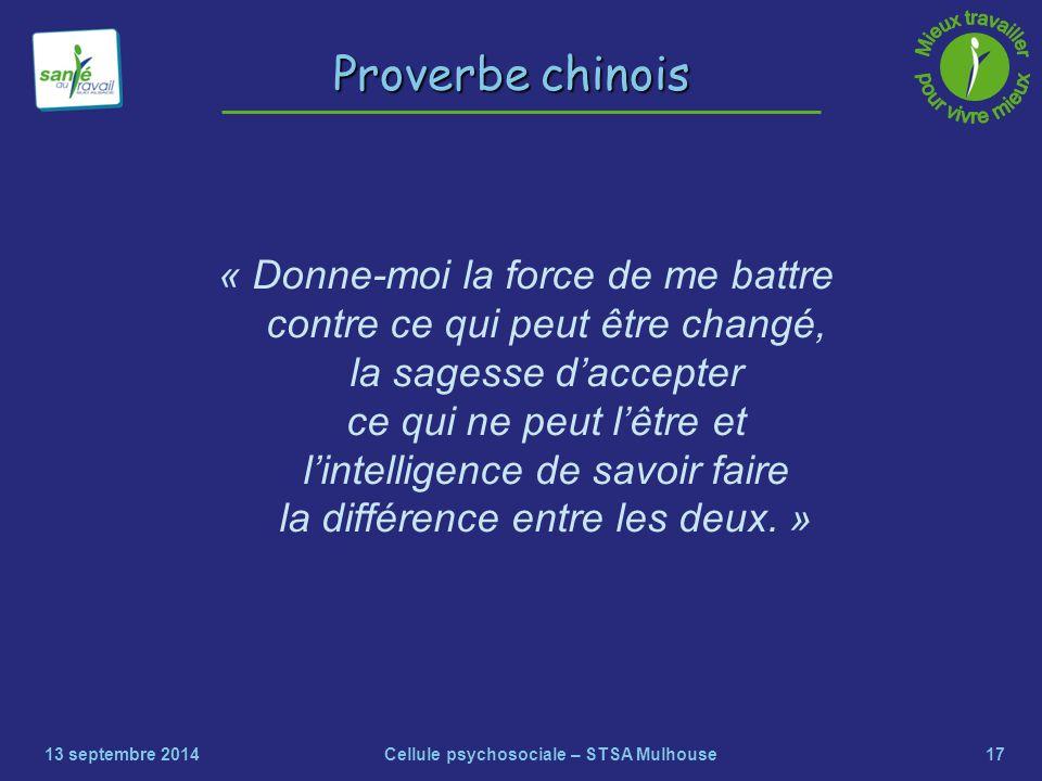 17 Proverbe chinois « Donne-moi la force de me battre contre ce qui peut être changé, la sagesse d'accepter ce qui ne peut l'être et l'intelligence de