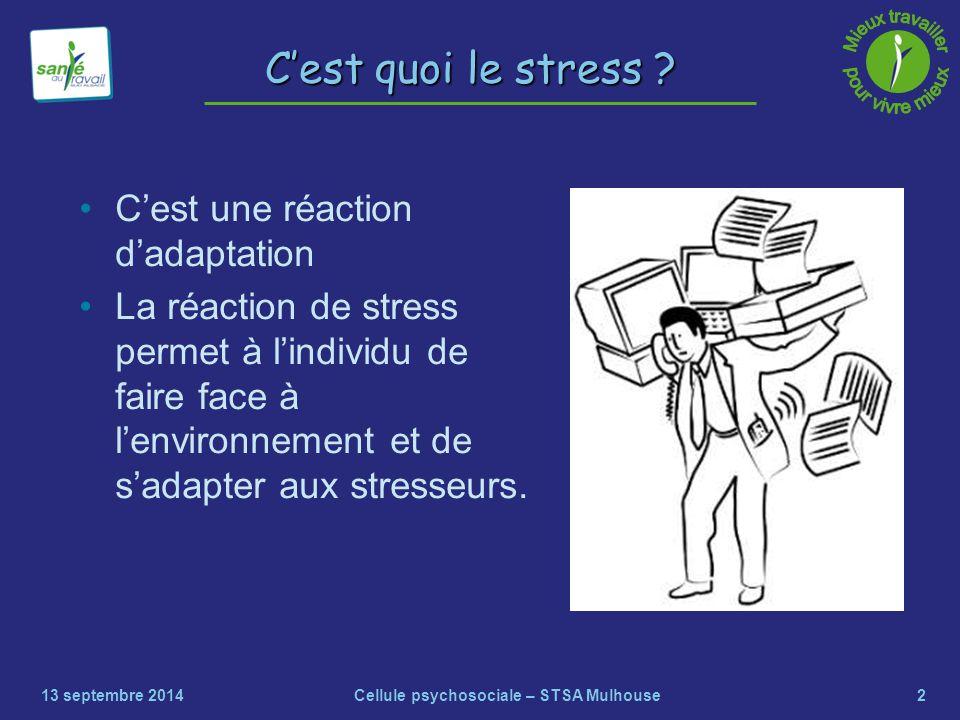 2 C'est quoi le stress ? C'est une réaction d'adaptation La réaction de stress permet à l'individu de faire face à l'environnement et de s'adapter aux
