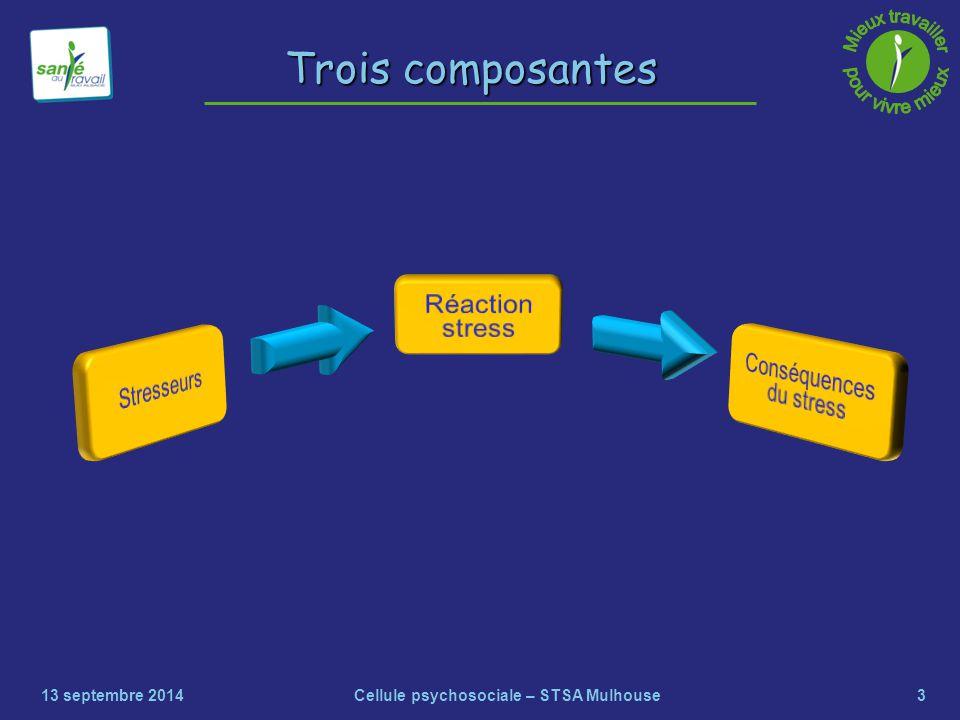 3 Trois composantes 13 septembre 2014Cellule psychosociale – STSA Mulhouse