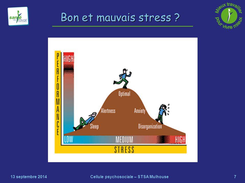 7 Bon et mauvais stress ? 13 septembre 2014Cellule psychosociale – STSA Mulhouse