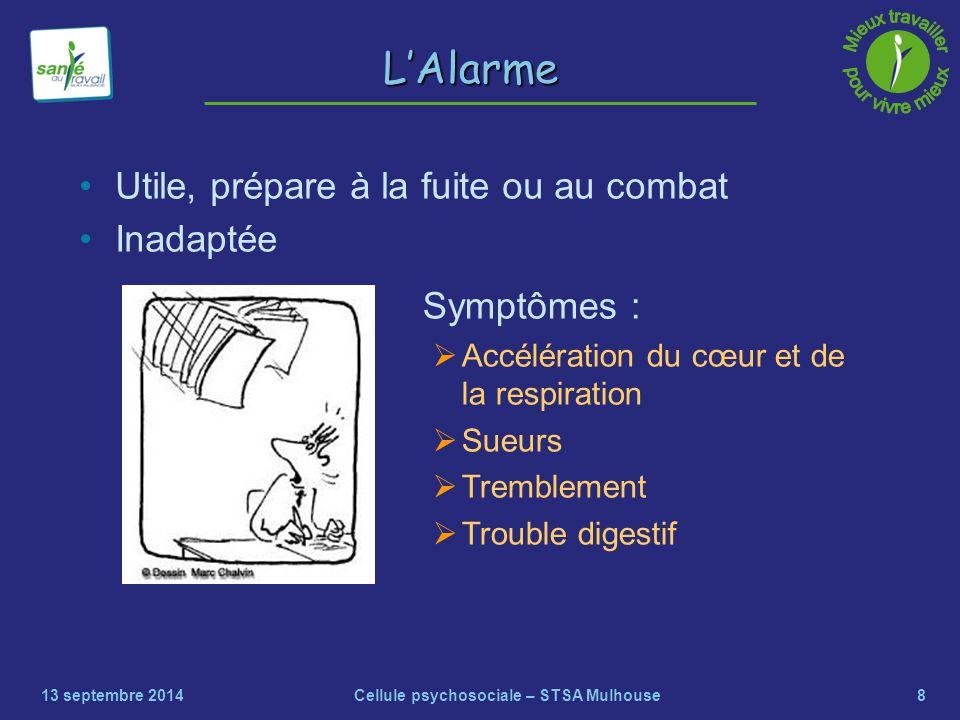 8 L'Alarme Utile, prépare à la fuite ou au combat Inadaptée 13 septembre 2014Cellule psychosociale – STSA Mulhouse Symptômes :  Accélération du cœur