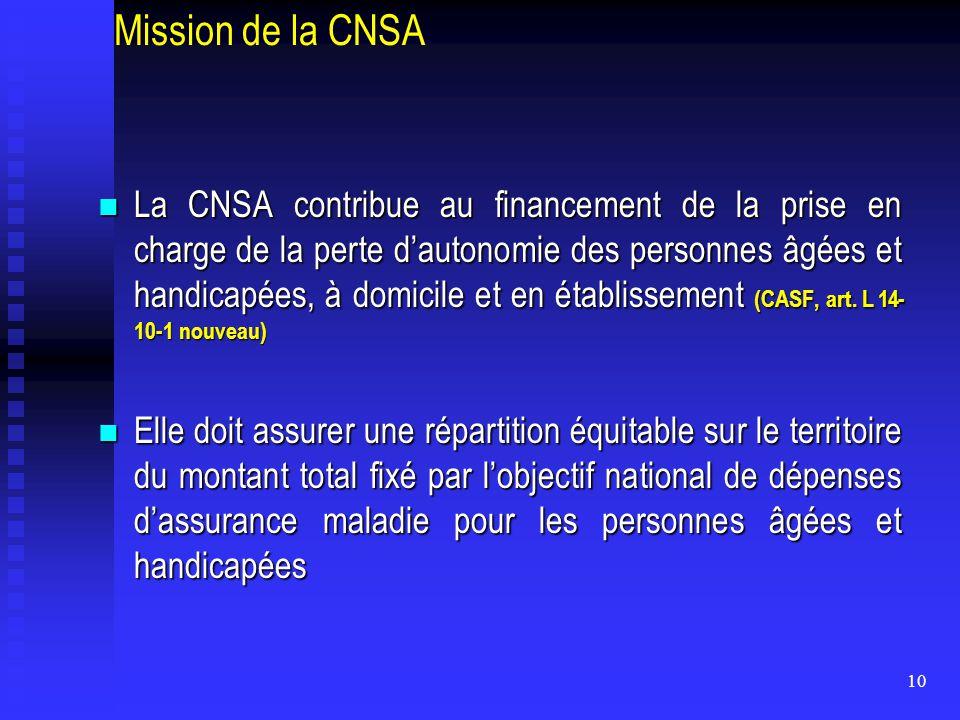 10 Mission de la CNSA La CNSA contribue au financement de la prise en charge de la perte d'autonomie des personnes âgées et handicapées, à domicile et