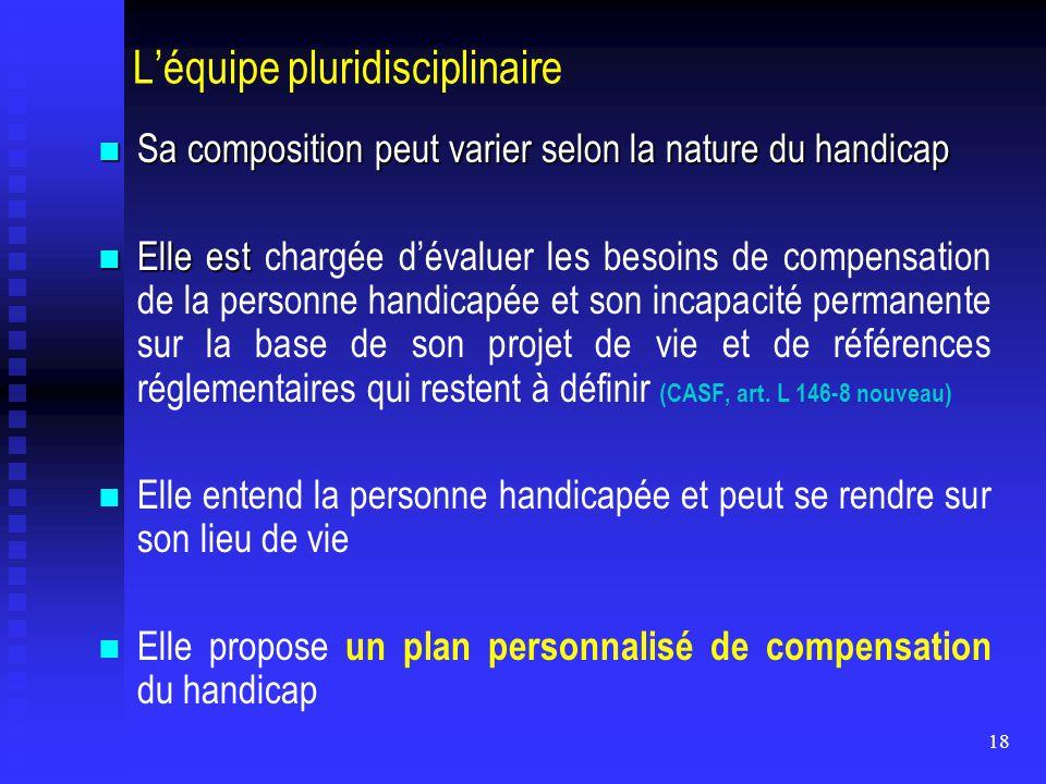 18 L'équipe pluridisciplinaire Sa composition peut varier selon la nature du handicap Sa composition peut varier selon la nature du handicap Elle est