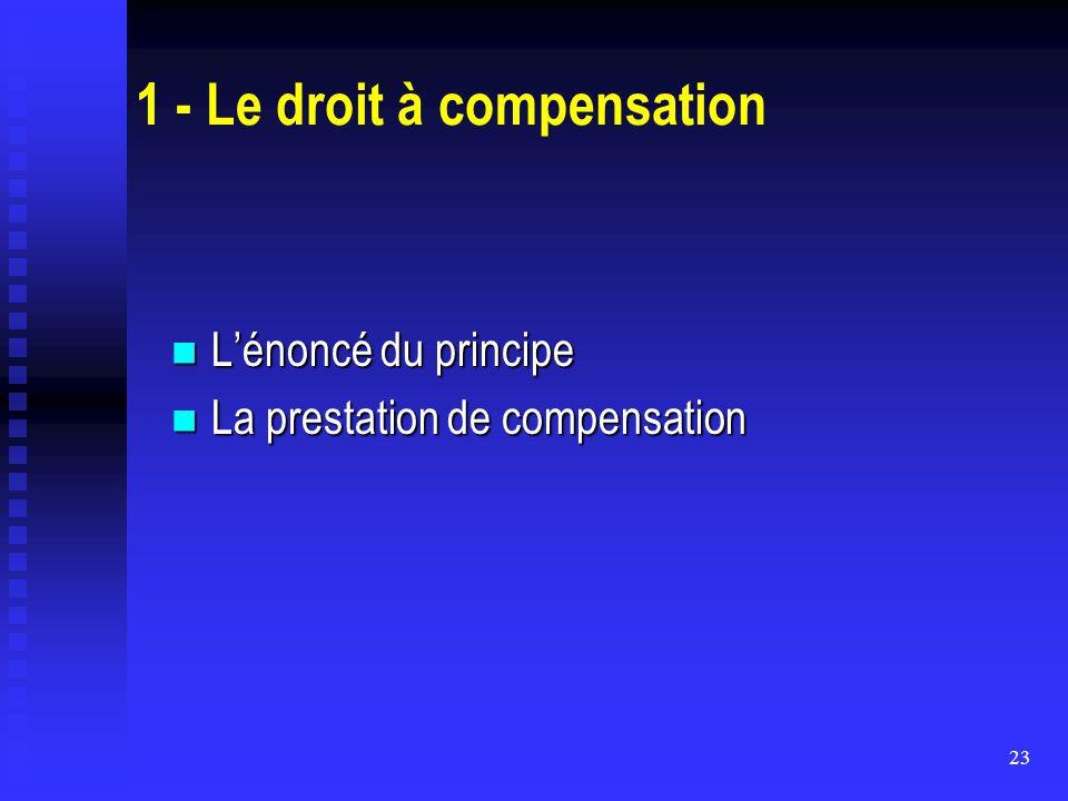 23 1 - Le droit à compensation L'énoncé du principe L'énoncé du principe La prestation de compensation La prestation de compensation