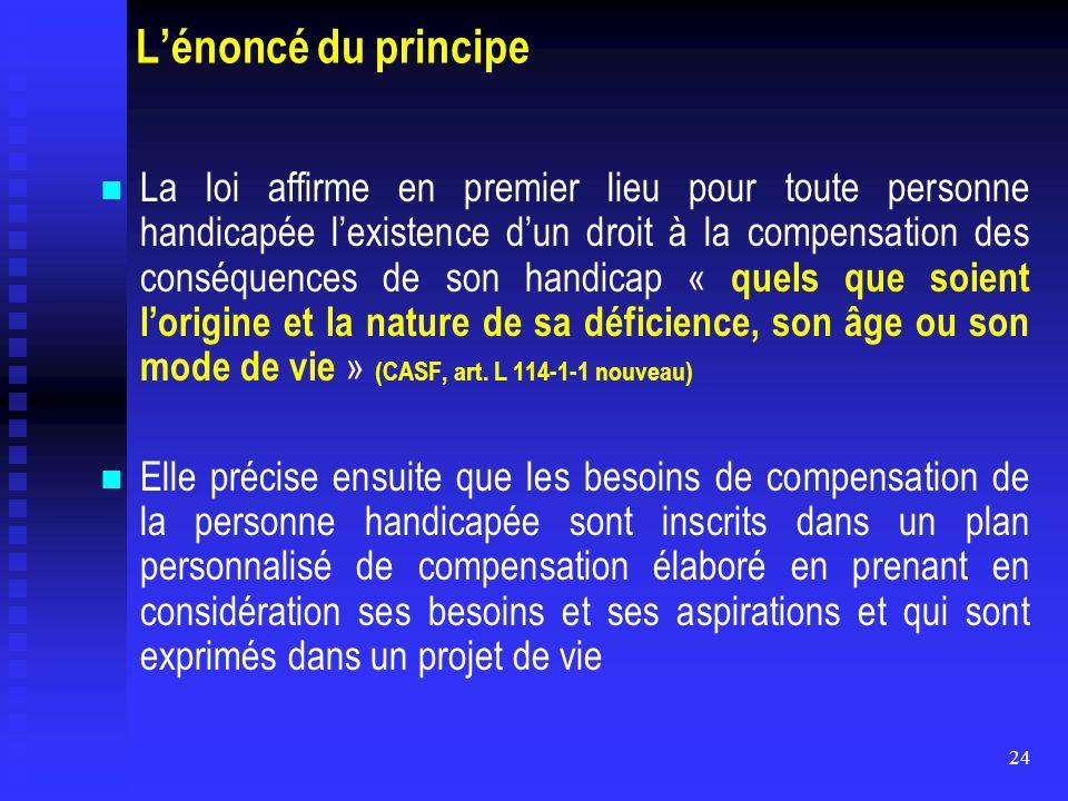 24 L'énoncé du principe La loi affirme en premier lieu pour toute personne handicapée l'existence d'un droit à la compensation des conséquences de son
