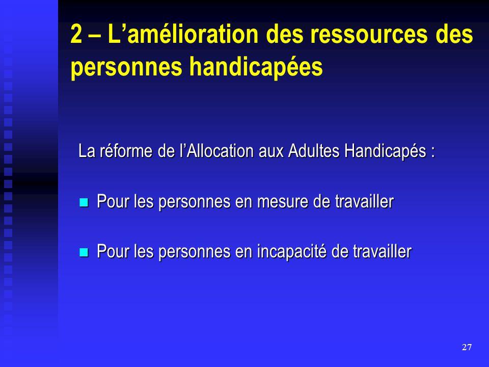 27 2 – L'amélioration des ressources des personnes handicapées La réforme de l'Allocation aux Adultes Handicapés : Pour les personnes en mesure de tra