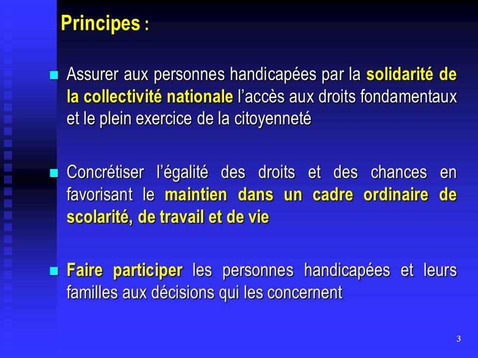 3 Principes : Assurer aux personnes handicapées par la solidarité de la collectivité nationale l'accès aux droits fondamentaux et le plein exercice de
