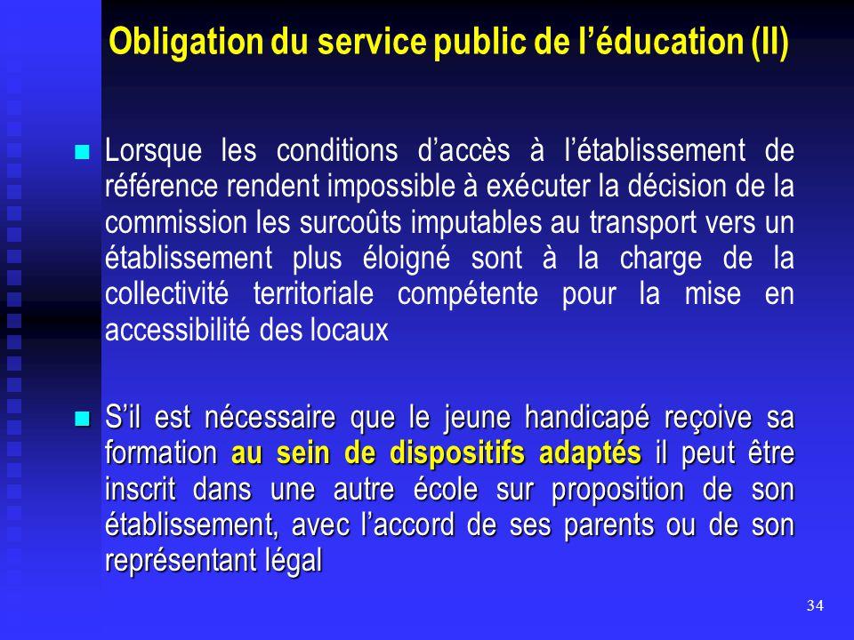 34 Obligation du service public de l'éducation (II) Lorsque les conditions d'accès à l'établissement de référence rendent impossible à exécuter la déc