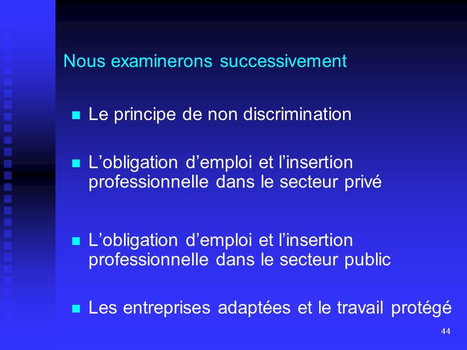 44 Le principe de non discrimination L'obligation d'emploi et l'insertion professionnelle dans le secteur privé L'obligation d'emploi et l'insertion p