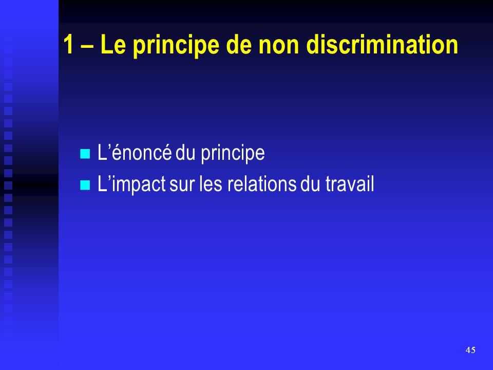 45 1 – Le principe de non discrimination L'énoncé du principe L'impact sur les relations du travail