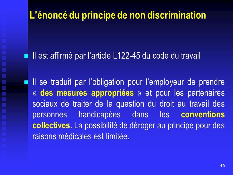 46 L'énoncé du principe de non discrimination Il est affirmé par l'article L122-45 du code du travail. Il se traduit par l'obligation pour l'employeur