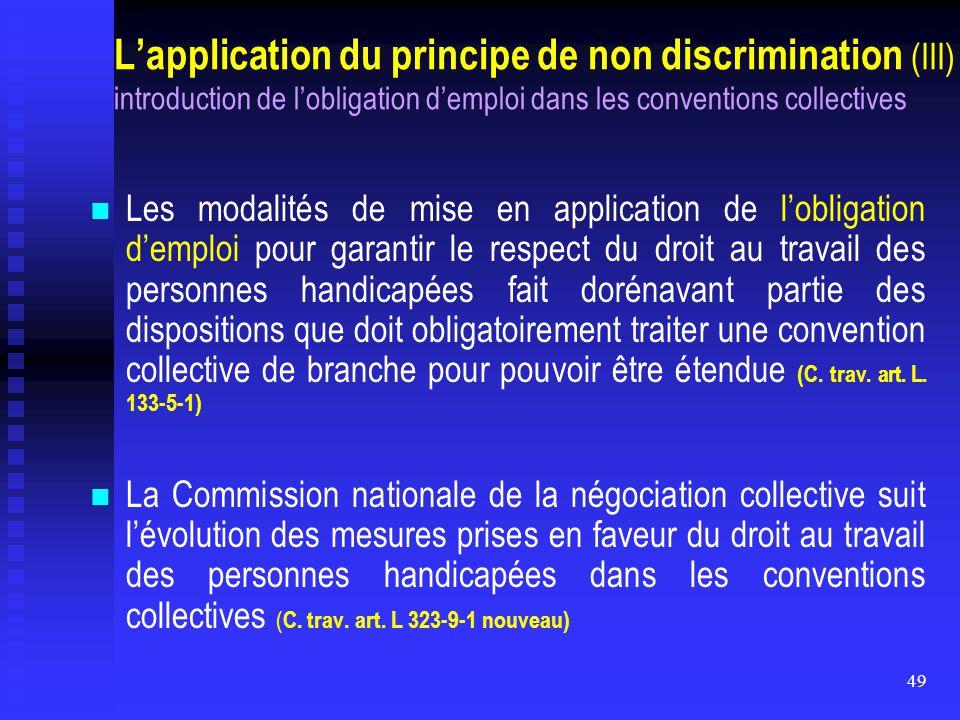 49 L'application du principe de non discrimination (III) introduction de l'obligation d'emploi dans les conventions collectives Les modalités de mise