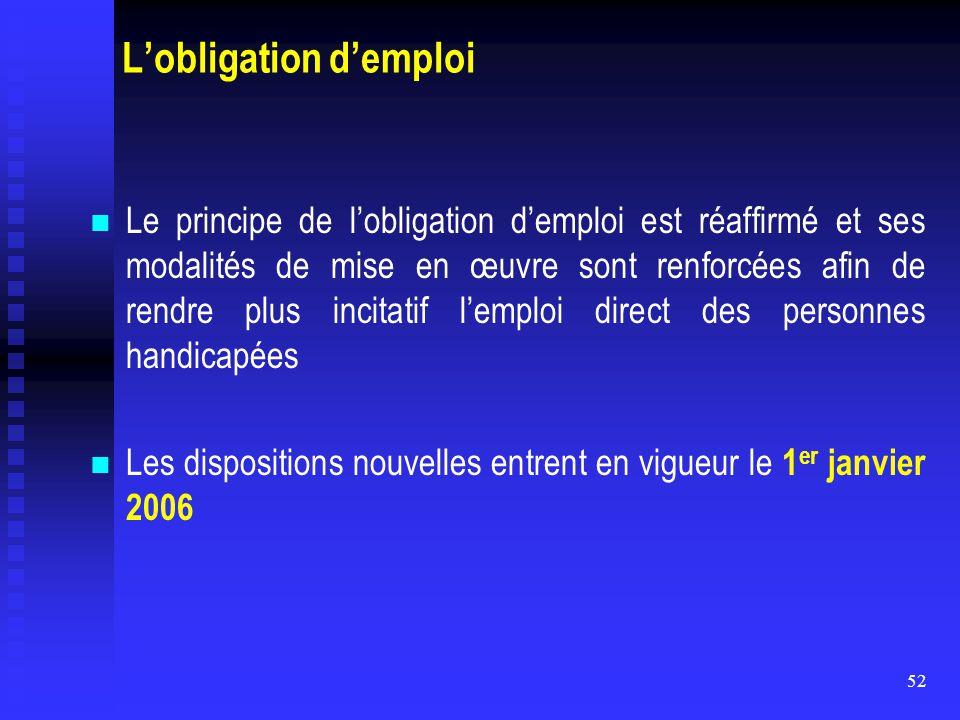 52 L'obligation d'emploi Le principe de l'obligation d'emploi est réaffirmé et ses modalités de mise en œuvre sont renforcées afin de rendre plus inci