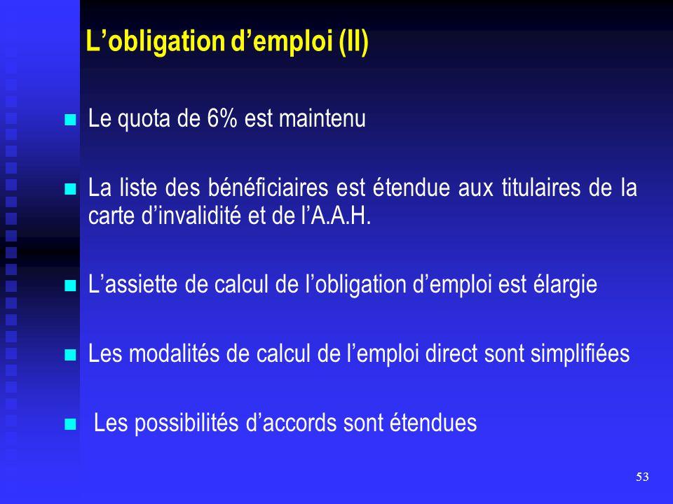 53 L'obligation d'emploi (II) Le quota de 6% est maintenu La liste des bénéficiaires est étendue aux titulaires de la carte d'invalidité et de l'A.A.H