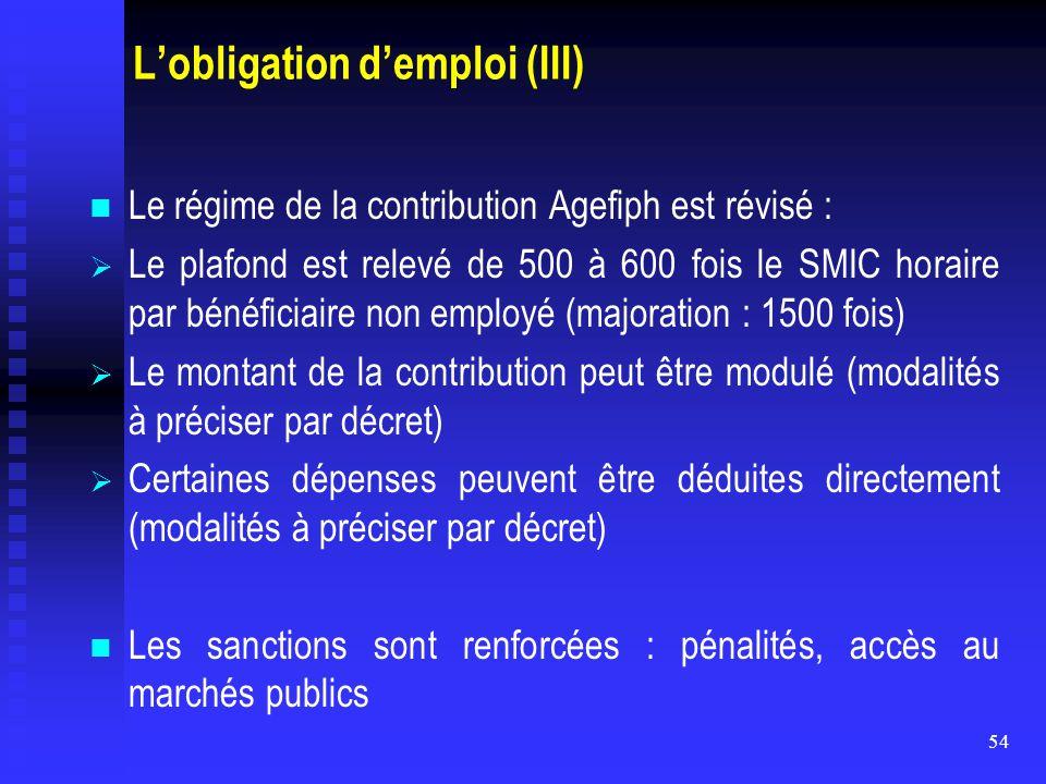 54 L'obligation d'emploi (III) Le régime de la contribution Agefiph est révisé :   Le plafond est relevé de 500 à 600 fois le SMIC horaire par bénéf