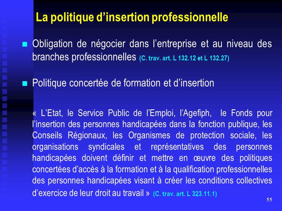55 La politique d'insertion professionnelle Obligation de négocier dans l'entreprise et au niveau des branches professionnelles (C. trav. art. L 132.1