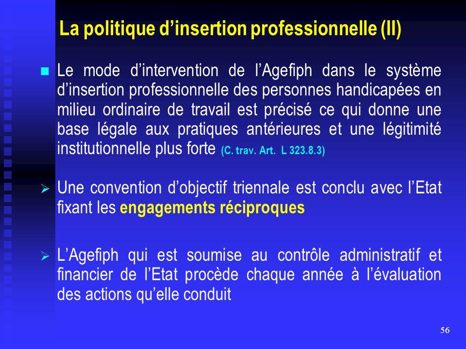 56 La politique d'insertion professionnelle (II) Le mode d'intervention de l'Agefiph dans le système d'insertion professionnelle des personnes handica