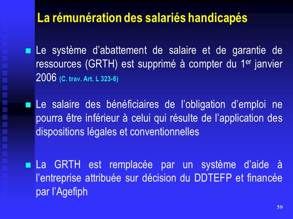 59 La rémunération des salariés handicapés Le système d'abattement de salaire et de garantie de ressources (GRTH) est supprimé à compter du 1 er janvi