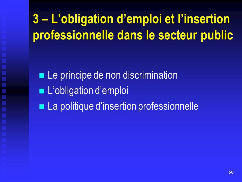 60 3 – L'obligation d'emploi et l'insertion professionnelle dans le secteur public Le principe de non discrimination L'obligation d'emploi La politiqu