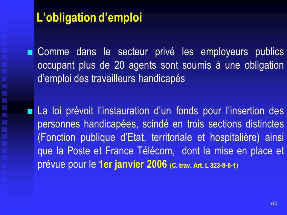 62 L'obligation d'emploi Comme dans le secteur privé les employeurs publics occupant plus de 20 agents sont soumis à une obligation d'emploi des trava