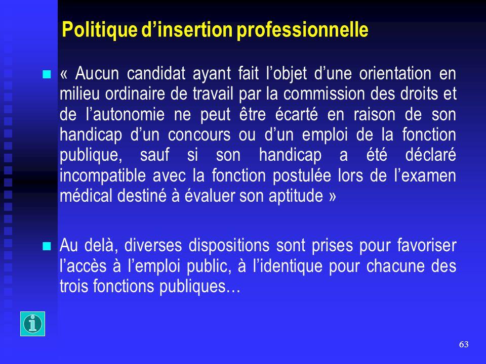 63 Politique d'insertion professionnelle « Aucun candidat ayant fait l'objet d'une orientation en milieu ordinaire de travail par la commission des dr
