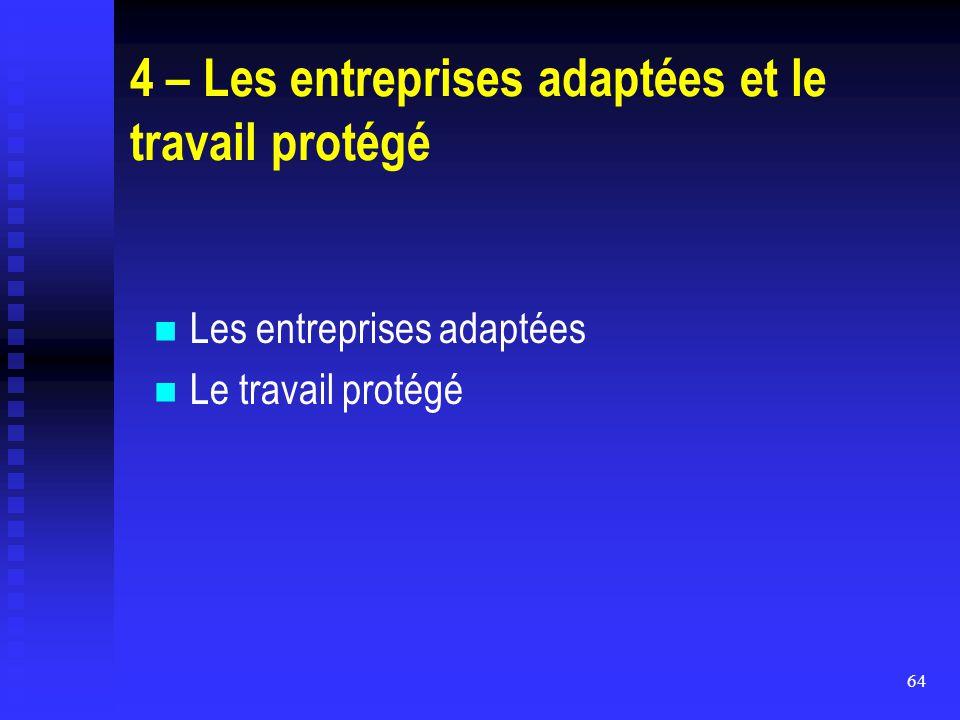 64 4 – Les entreprises adaptées et le travail protégé Les entreprises adaptées Le travail protégé
