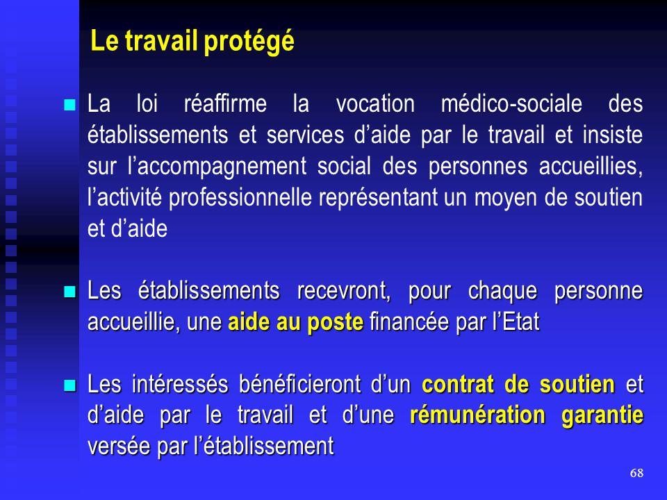68 Le travail protégé La loi réaffirme la vocation médico-sociale des établissements et services d'aide par le travail et insiste sur l'accompagnement