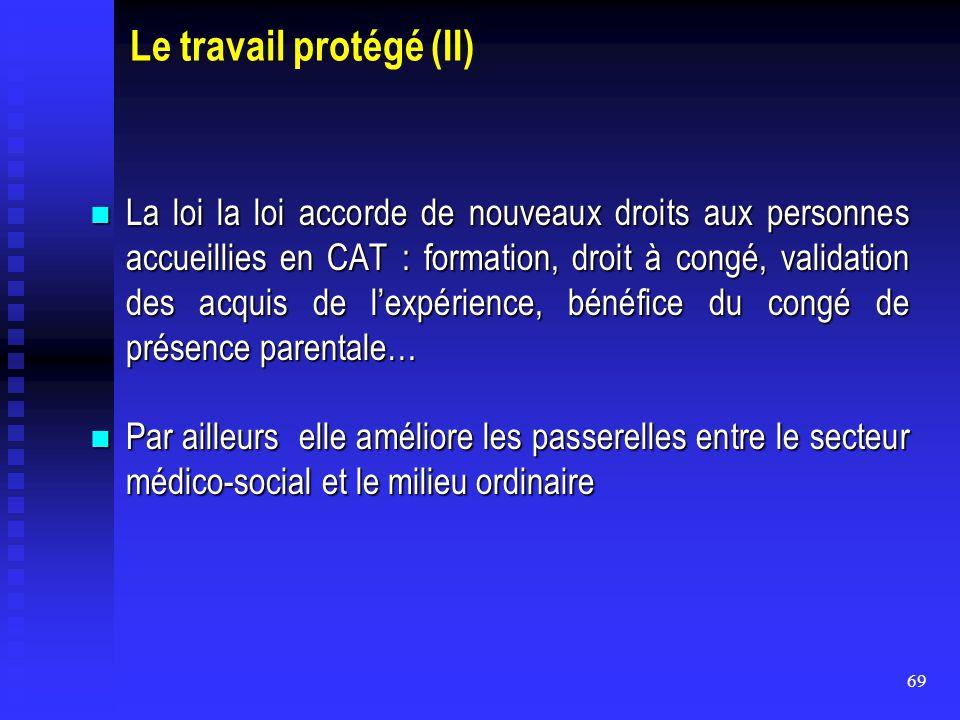 69 Le travail protégé (II) La loi la loi accorde de nouveaux droits aux personnes accueillies en CAT : formation, droit à congé, validation des acquis