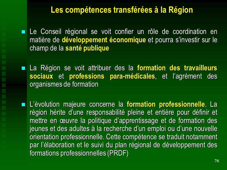 76 Les compétences transférées à la Région Le Conseil régional se voit confier un rôle de coordination en matière de développement économique et pourr