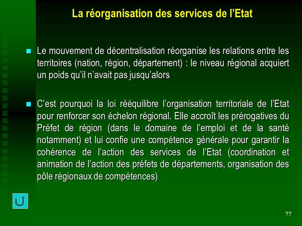 77 La réorganisation des services de l'Etat Le mouvement de décentralisation réorganise les relations entre les territoires (nation, région, départeme