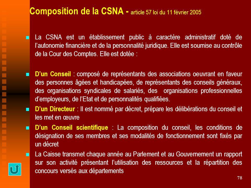 78 Composition de la CSNA - article 57 loi du 11 février 2005 La CSNA est un établissement public à caractère administratif doté de l'autonomie financ