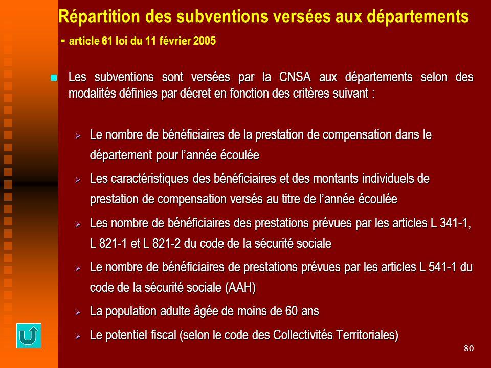 80 Répartition des subventions versées aux départements - article 61 loi du 11 février 2005 Les subventions sont versées par la CNSA aux départements