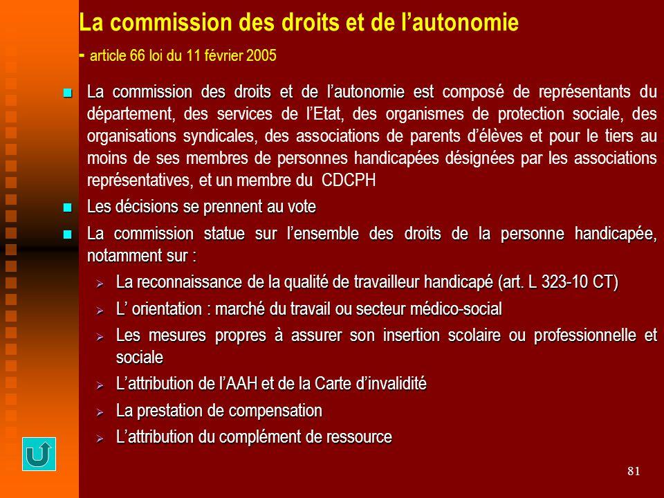 81 La commission des droits et de l'autonomie - article 66 loi du 11 février 2005 La commission des droits et de l'autonomie est La commission des dro