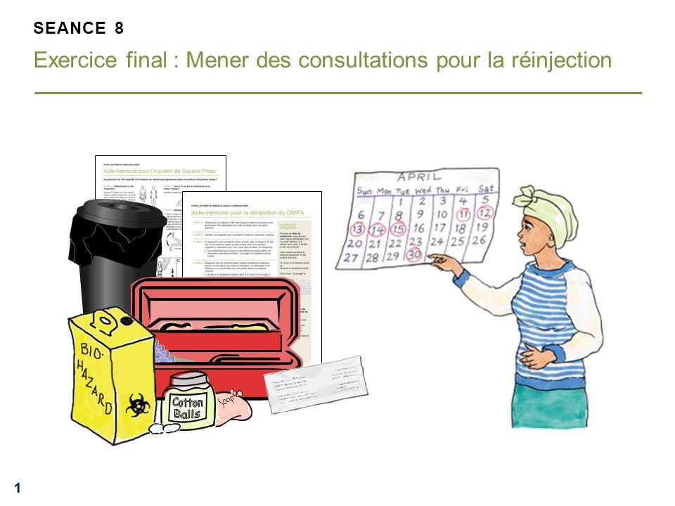 222 ACTIVITE DE GROUPE Mener des consultations pour la réinjection Suivez les instructions sur l'aide-mémoire pour décider si les clientes sont aptes à recevoir Sayana Press.