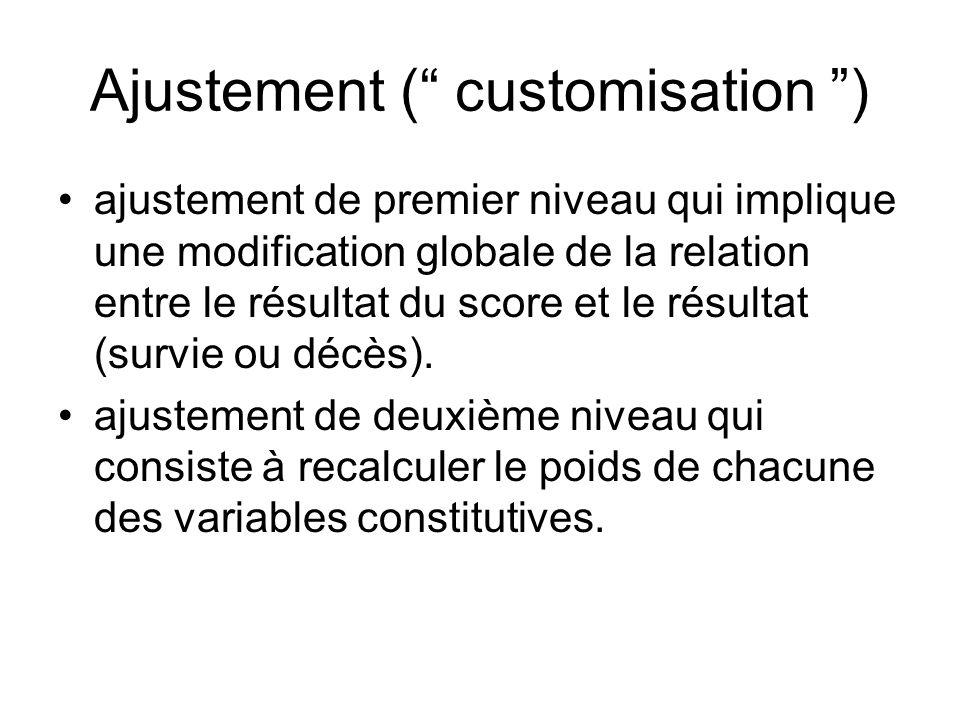 Ajustement ( customisation ) ajustement de premier niveau qui implique une modification globale de la relation entre le résultat du score et le résultat (survie ou décès).