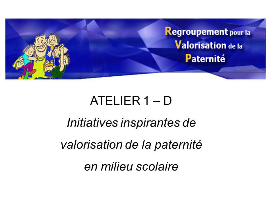 ATELIER 1 – D Initiatives inspirantes de valorisation de la paternité en milieu scolaire