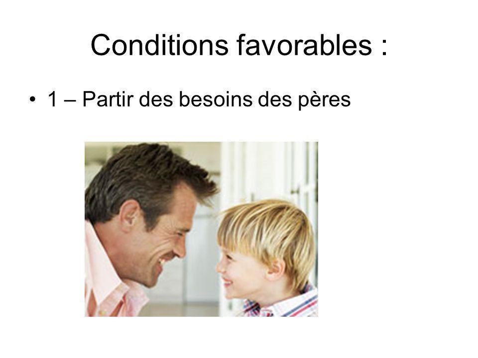 Conditions favorables : 1 – Partir des besoins des pères