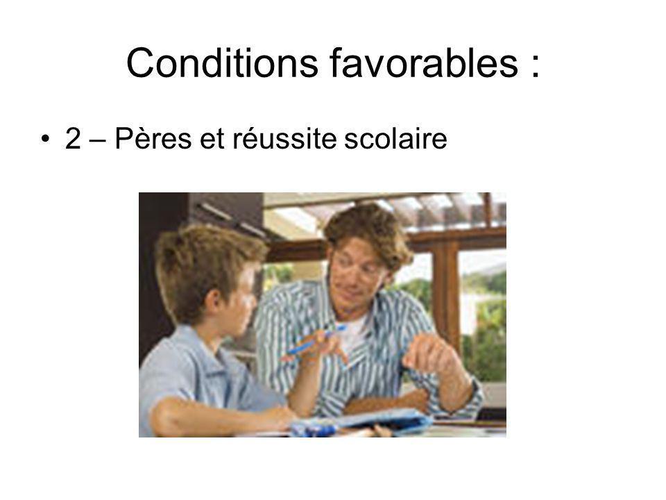 Conditions favorables : 2 – Pères et réussite scolaire