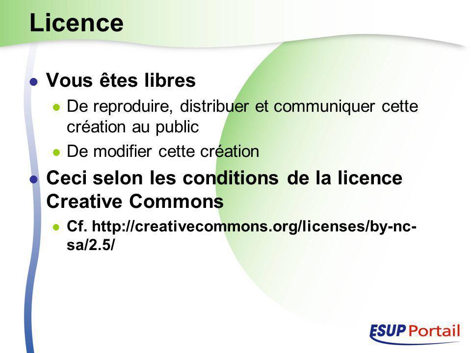 Licence Vous êtes libres De reproduire, distribuer et communiquer cette création au public De modifier cette création Ceci selon les conditions de la licence Creative Commons Cf.