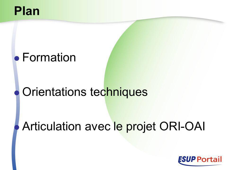 Plan Formation Orientations techniques Articulation avec le projet ORI-OAI