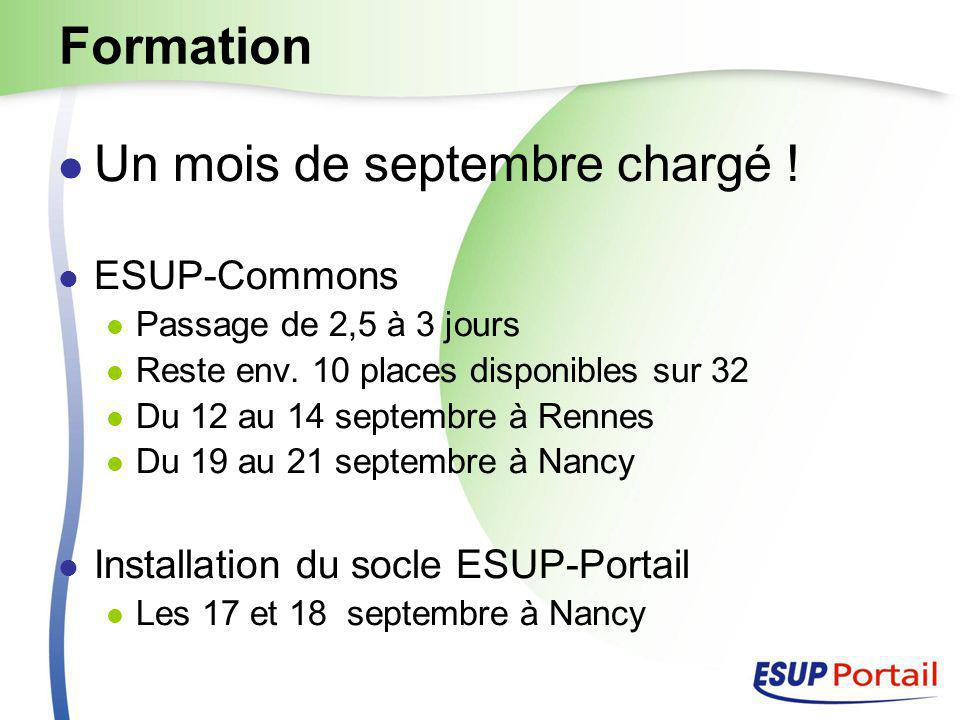 Formation Un mois de septembre chargé . ESUP-Commons Passage de 2,5 à 3 jours Reste env.
