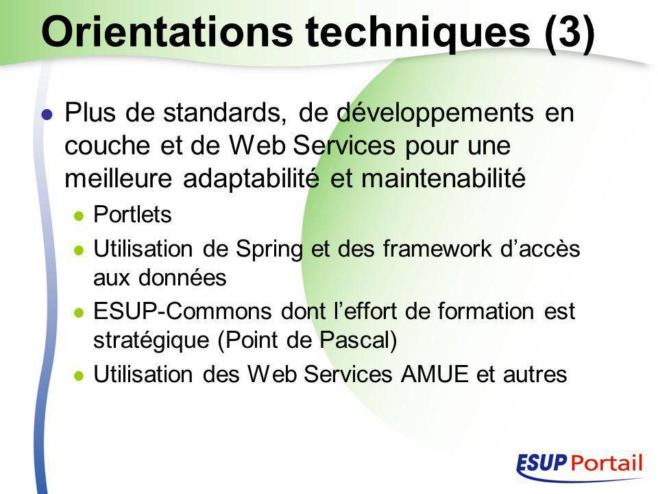 Orientations techniques (3) Plus de standards, de développements en couche et de Web Services pour une meilleure adaptabilité et maintenabilité Portlets Utilisation de Spring et des framework d'accès aux données ESUP-Commons dont l'effort de formation est stratégique (Point de Pascal) Utilisation des Web Services AMUE et autres
