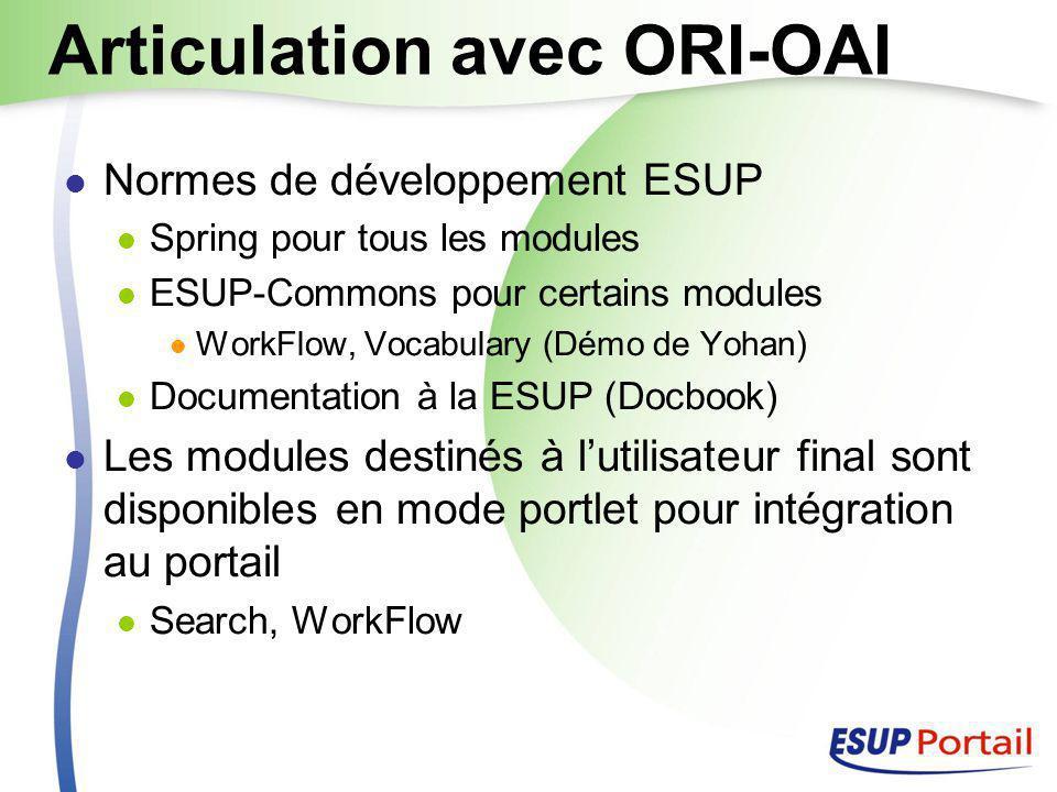 Articulation avec ORI-OAI Normes de développement ESUP Spring pour tous les modules ESUP-Commons pour certains modules WorkFlow, Vocabulary (Démo de Yohan) Documentation à la ESUP (Docbook) Les modules destinés à l'utilisateur final sont disponibles en mode portlet pour intégration au portail Search, WorkFlow