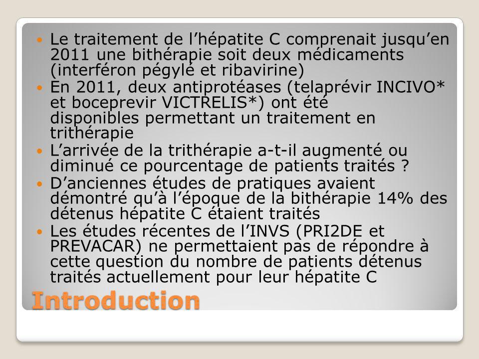 Introduction Le traitement de l'hépatite C comprenait jusqu'en 2011 une bithérapie soit deux médicaments (interféron pégylé et ribavirine) En 2011, de