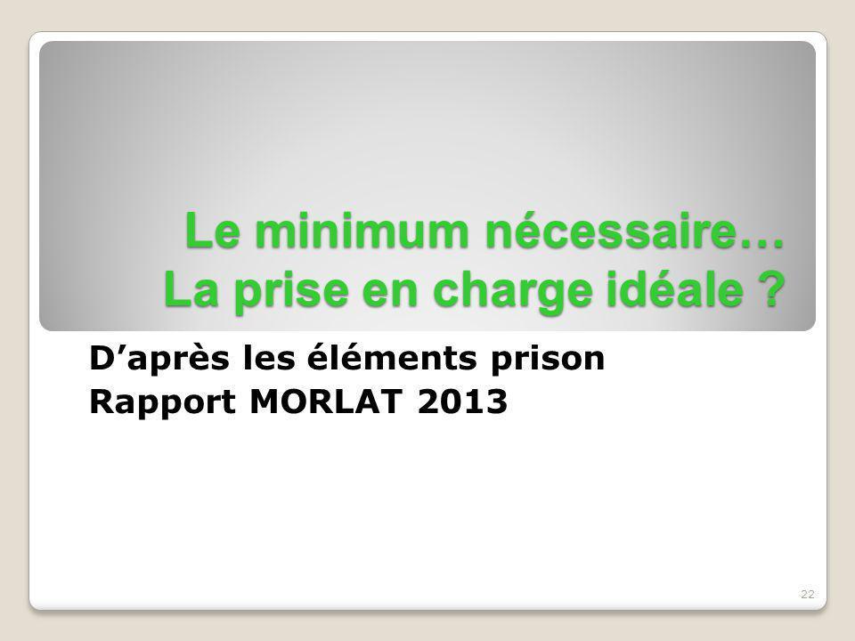 22 Le minimum nécessaire… La prise en charge idéale ? D'après les éléments prison Rapport MORLAT 2013