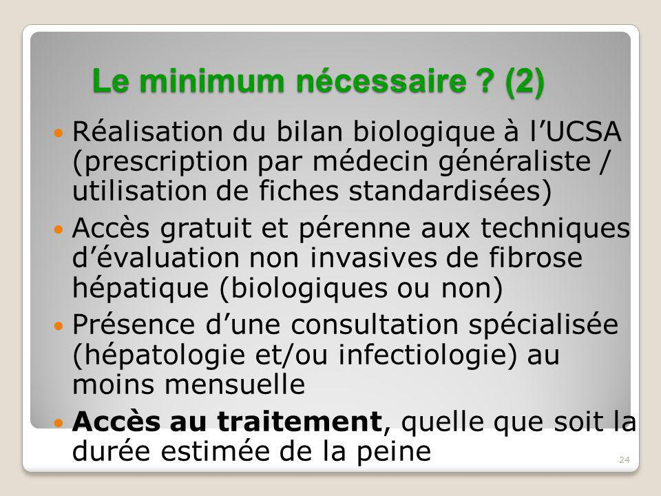 24 Le minimum nécessaire ? (2) Réalisation du bilan biologique à l'UCSA (prescription par médecin généraliste / utilisation de fiches standardisées) A