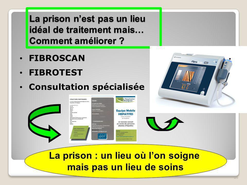 26 La prison n'est pas un lieu idéal de traitement mais… Comment améliorer ? FIBROSCAN FIBROTEST Consultation spécialisée La prison : un lieu où l'on