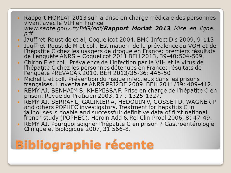 Bibliographie récente Rapport MORLAT 2013 sur la prise en charge médicale des personnes vivant avec le VIH en France www.sante.gouv.fr/IMG/pdf/Rapport